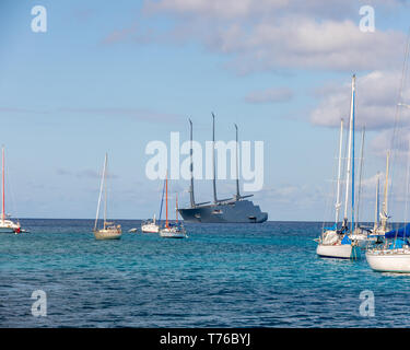 Largest sailing super yacht in the world designed by Philippe Stark in St Barts - Stock Image