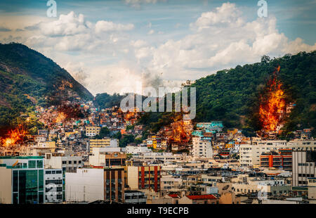 Digital manipulation of fires and smoke from possible gang warfare to control the drug trade in Rio de Janeiro, Brazil slums known as favelas - Stock Image