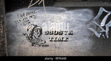 SSOSVA TIME RIP the mad hatter, Northern Quarter, Manchester, England, UK - Stock Image