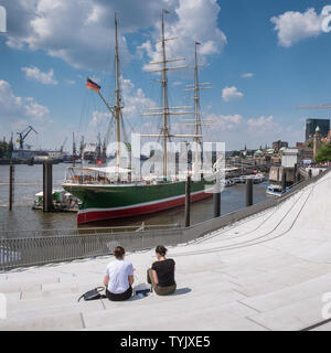 Rickmer Rickmers, a fully rigged 19th century sailing ship open as a heritage tourist attraction and art museum on Hamburg waterfront, Germany. - Stock Image