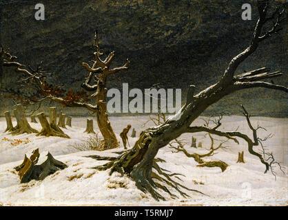 Caspar David Friedrich, Winter landscape, painting, 1811 - Stock Image
