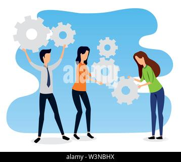 businesswomen and businessman teamwork with elegant clothes - Stock Image
