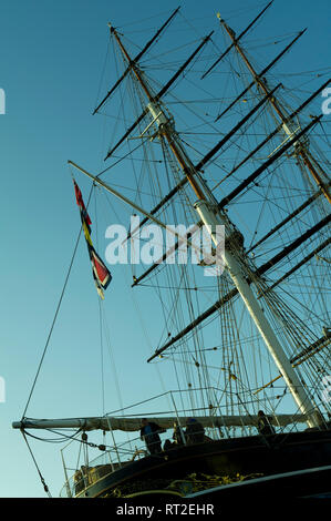 Cutty Sark tall ship detail, Greenwich, London UK - Stock Image