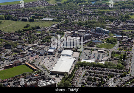 aerial view of Droylsden Shopping Centre in Manchester - Stock Image
