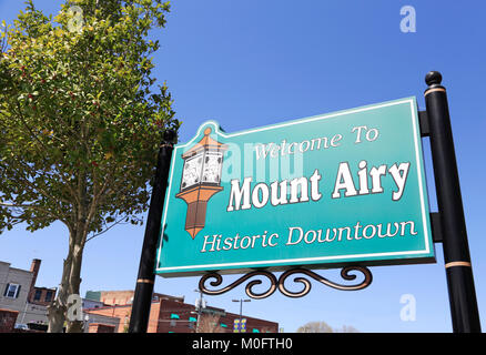 Mount Airy, North Carolina. Historic downtown. - Stock Image