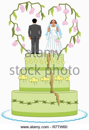 Angry bride and groom on top of split wedding cake - Stock Image