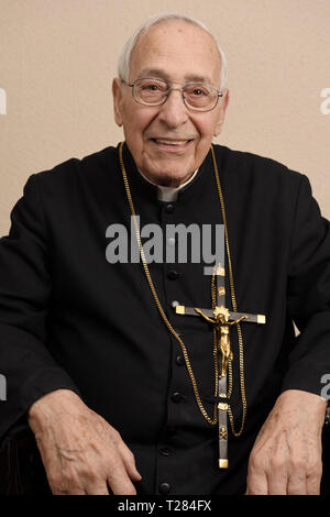 90 year old Brother in the order of the Missionaries of the Precious Blood - Stock Image