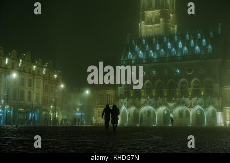 Night view of the Town Hall and Belfry in Arras, France - Stock Image