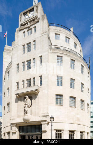 BBC Broadcasting House, Portland Place, London, an Art Deco building designed by George Val Myer and completed in 1932. - Stock Image