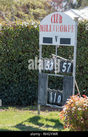 An old scoreboard at Club Milthorpe, AKA The Milthorpe Lawn Bowls Club in central western New South Wales, Australia - Stock Image