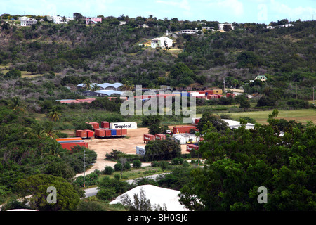Distant view of cargo containers near Sandy Ground, Anguilla - Stock Image