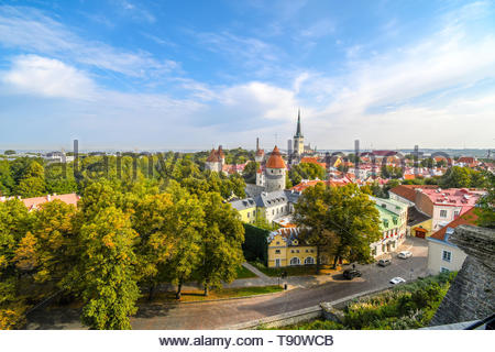 Afternoon view from Toompea Hill overlooking the medieval walled city of Tallinn Estonia on an early autumn day in the Baltic region of Europe - Stock Image