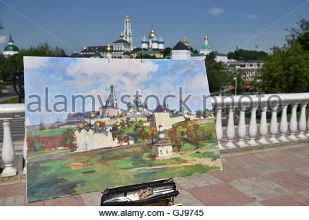 Drawn picture of the Cathedral of the Holy Trinity-St. Sergius Lavra. Sergiyev Posad is included into the Golden - Stock Image