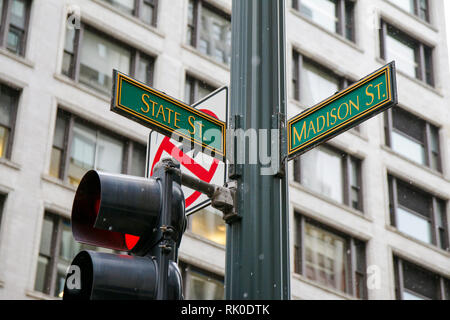 Street signs, State and Madison, Chicago, Illinois. - Stock Image