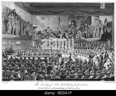 SOCIETY OF ARTS in John Adam Street,London, 1804, before the granting of the Royal Charter - Stock Image