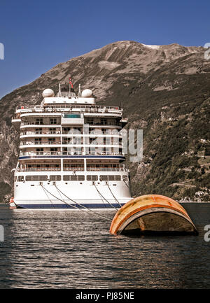 Cruise ship moored at Geiranger, Norway. - Stock Image