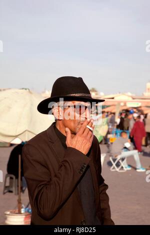 Marrakesch, Porträt, Mann, Altstadt, Djemaa el Fna - Stock Image