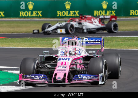 Silverstone, UK. 14th July 2019. FIA F1 Grand Prix of Britain, Race Day; Sergio Perez driving his SportPesa Racing Point F1 Team RP19 Credit: Action Plus Sports Images/Alamy Live News - Stock Image