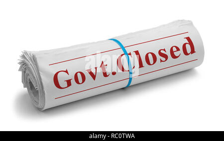 Rolled Newspaper with Govt. Closed Headline Isolated on White. - Stock Image