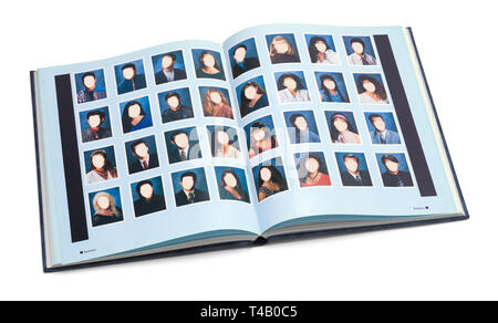 Open High School Year Book with Blank Faces Isolated on White Background. - Stock Image