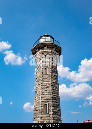 Roosevelt Island Lighthouse, New York, NY. There are several images of this Gothic style octagonal stone light house - Stock Image