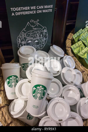 Starbucks Reusable Travel Cup To Go Coffee Cups - Stock Image