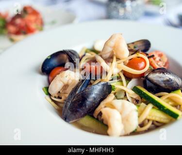 Seafood Linguine - Stock Image