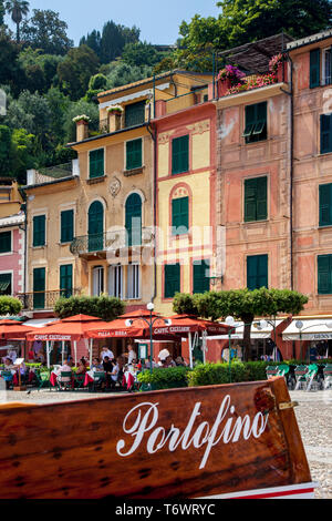 Tiny seaport town of Portofino, Liguria Italy - Stock Image