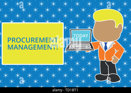Writing note showing Procurement Management. Business concept for buying Goods and Services from External Sources Standing professional businessman ho - Stock Image
