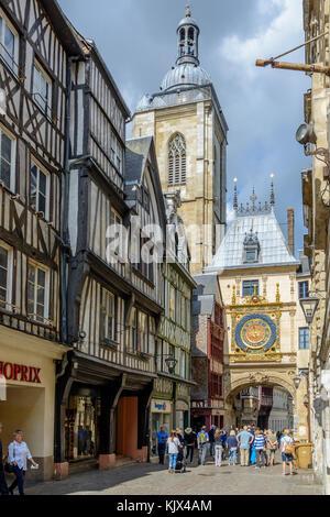 Gros horloge in historical center of Rouen, Normandie, France - Stock Image
