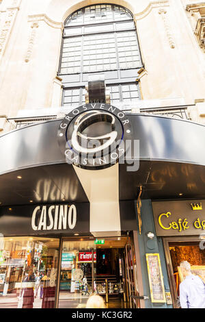 Grosvenor casinos London UK England, Grosvenor casino London UK, Grosvenor casinos entrance sign, Grosvenor casino - Stock Image
