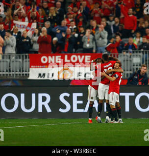 Optus Stadium, Burswood, Perth, W Australia. 17th July 2019. Manchester United versus Leeds United; pre-season tour; Manchester united players celebrate the 7th minute goal by Mason Greenwood to make the score 1-0 Credit: Action Plus Sports Images/Alamy Live News - Stock Image