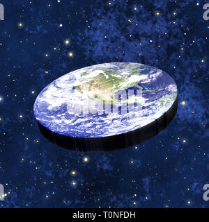 flat earth theory concept - Stock Image