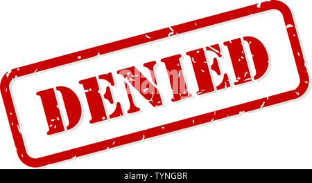 Denied red rubber stamp vector isolated - Stock Image