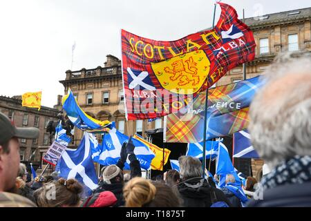 George Square, Glasgow, UK. 24th Mar, 2019. UK, Europe. Hope over fear campaign group held an anti-brexit, remain, peoples vote, use the mandate rally in the centre of Glasgow today at George Square. The people showed their disapproval of the current government at Westminster and complained that Scotland is not being listened to. Credit: Douglas Carr/Alamy Live News - Stock Image