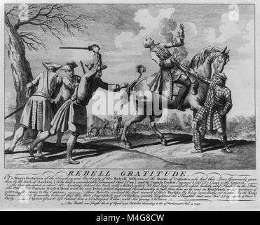 Rebell Gratitude, or a representation of the treachery and barbarity of two rebell officers at the Battle of Culloden, - Stock Image