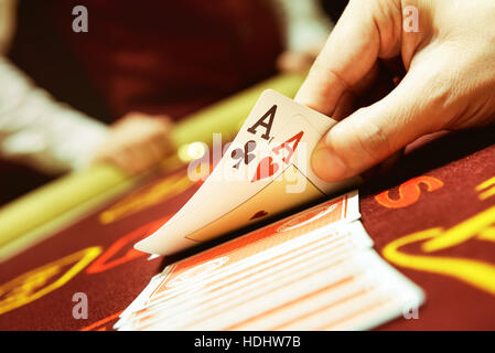 Poker cards ace hand success casino concept - Stock Image