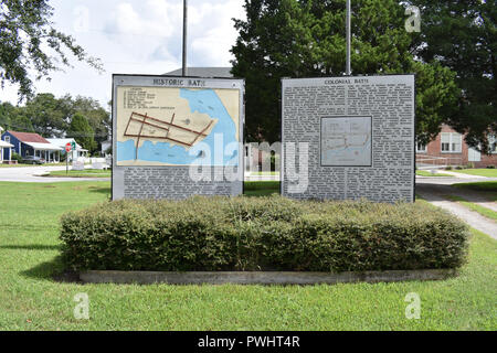 Information and a Map located at the Visitor Center in Bath, North Carolina.  Bath is the oldest town in North Carolina. - Stock Image