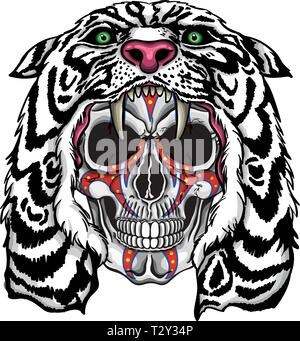 Vector illustration of human skull with war paintings and white lion hood. - Stock Image
