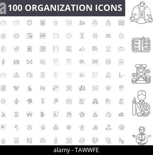 Organization line icons, signs, vector set, outline illustration concept  - Stock Image