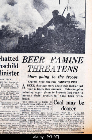 'Beer Famine Threatens More going to the troops' front page headline in the Daily Express newspaper article on March 23 1945 London England UK - Stock Image