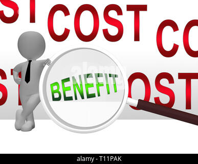 Cost Vs Benefit Magnifier Means Comparing Price Against Value. Return On Investment Or Balancing Gain - 3d Illustration - Stock Image