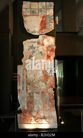 8th Century Stucco Tablet,  Palenque Museum, Originally from Temple XIX, Palenque Archaeological Site, Chiapas, - Stock Image