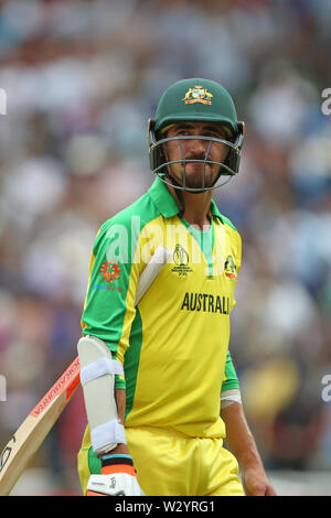 Birmingham, UK. 11th July 2019; Edgbaston, Midlands, England; ICC World Cup Cricket semi-final England versus Australia; Mitchell Starc walks off the field of play after being caught out by Jos Buttler from Chris Woakes bowling for 29 runs Credit: Action Plus Sports Images/Alamy Live News - Stock Image