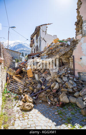 Sommati of Amatrice,Italy. 29 April 2017. The damage caused by the earthquake that hit central Italy in 2016. Sommati - Stock Image