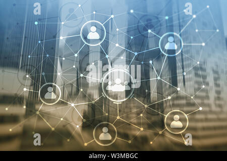 People relation and organization structure. Social media. Business and communication technology concept - Stock Image