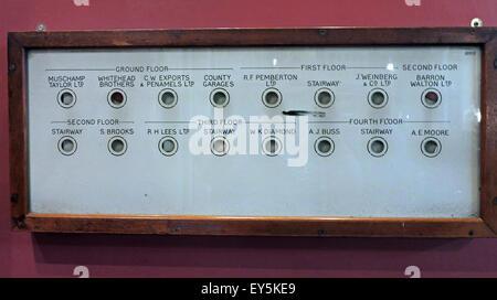 Internal company telephone call system panel at Stalybridge Station Buffet Bar, Tameside, Manchester, England, UK - Stock Image