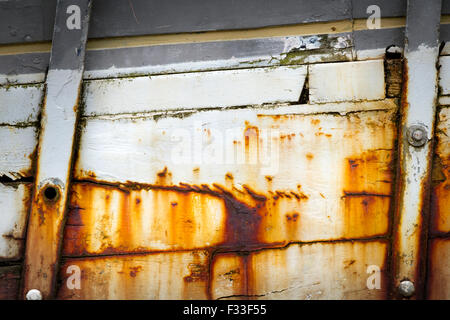 Rusty metal on a boat. - Stock Image