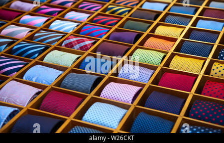 Colorful tie collection in the men's shop - Stock Image