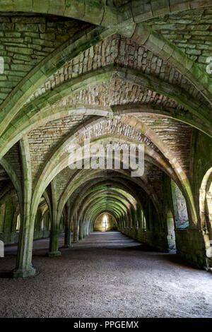 The Cellarium, Fountains Abbey, North Yorkshire, a UNESCO World Heritage Site – well-preserved ruins of a Cistercian Monastery - Stock Image